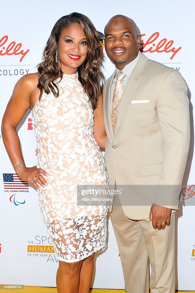Professional boxer Laila Ali and football player Curtis Conway attend the 2nd annual Sports Humanitarian of The Year Awards at Conga Room on July 12...