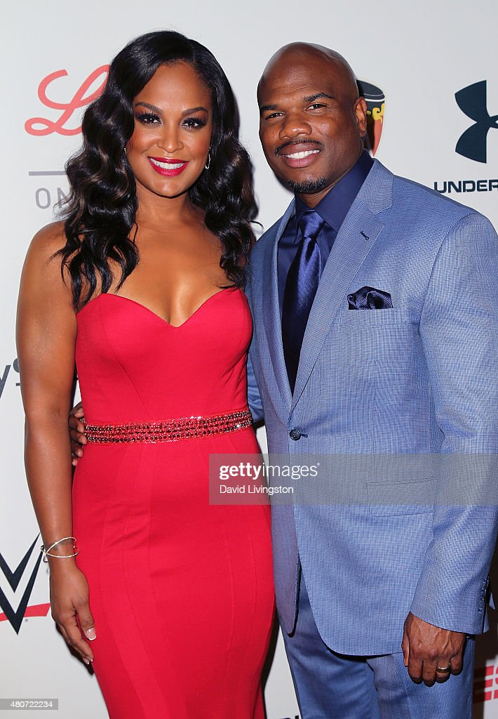 Professional boxer Laila Ali and husband former NFL player Curtis Conway attend the 2015 Sports Humanitarian of the Year Awards at the Conga Room at...