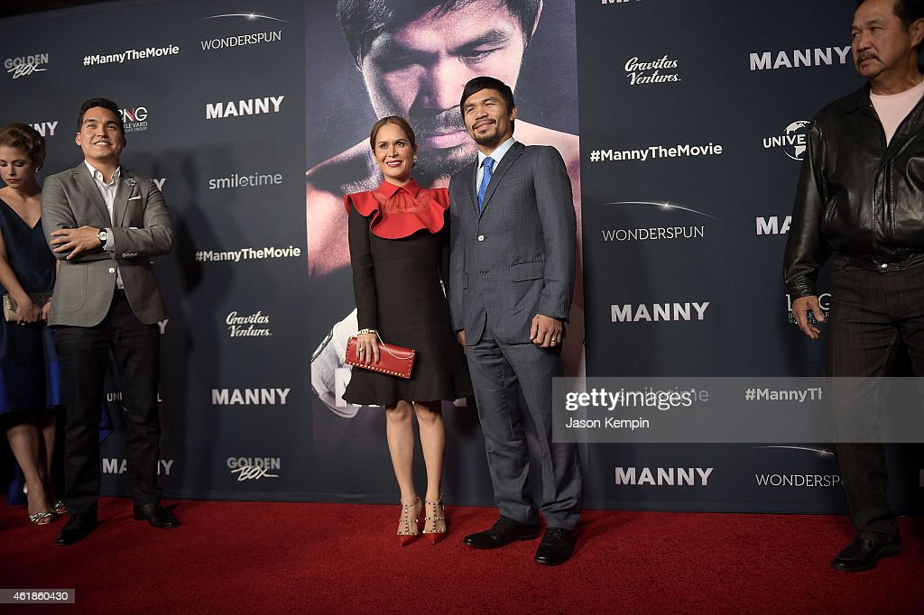 Professional boxer <a gi-track='captionPersonalityLinkClicked' href=/galleries/search?phrase=Manny+Pacquiao&family=editorial&specificpeople=3855506 ng-click='$event.stopPropagation()'>Manny Pacquiao</a> (R) and wife <a gi-track='captionPersonalityLinkClicked' href=/galleries/search?phrase=Jinkee+Pacquiao&family=editorial&specificpeople=6950931 ng-click='$event.stopPropagation()'>Jinkee Pacquiao</a> attend the premiere of 'Manny' at TCL Chinese Theatre on January 20, 2015 in Hollywood, California.