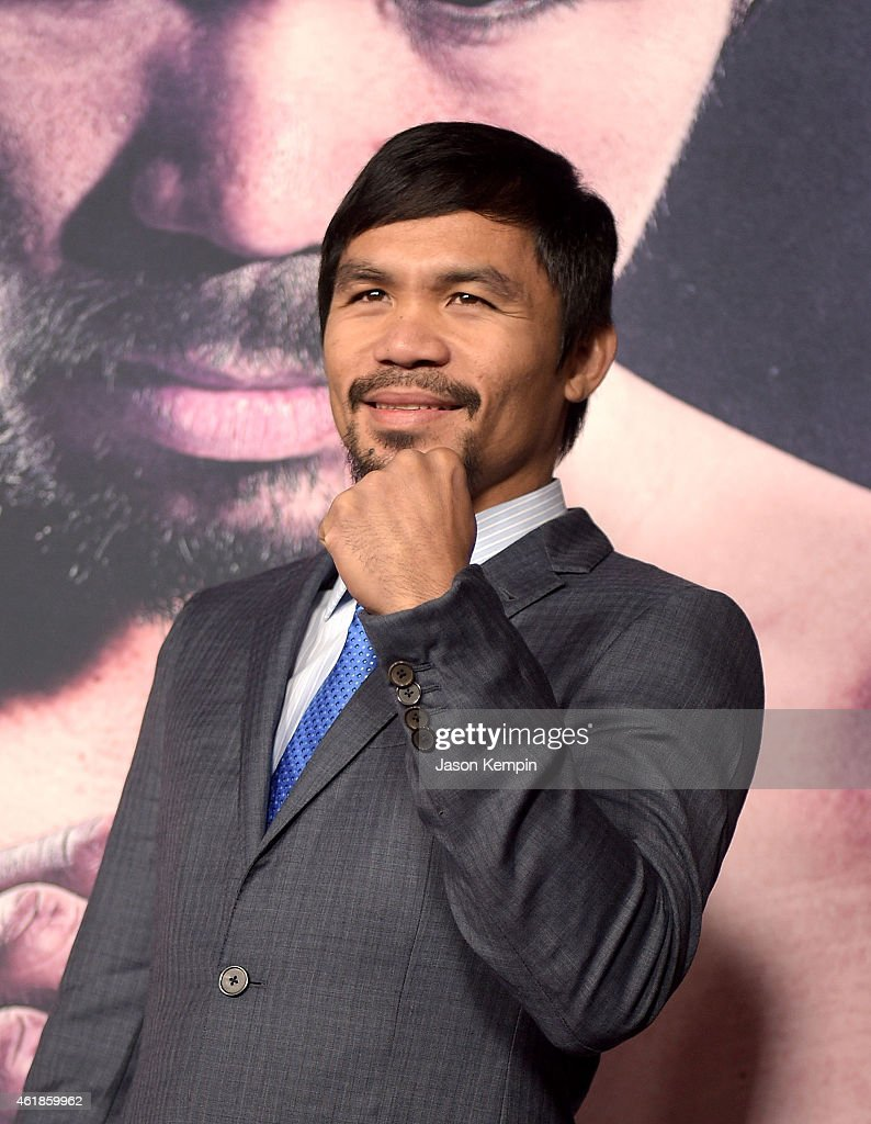 Professional boxer <a gi-track='captionPersonalityLinkClicked' href=/galleries/search?phrase=Manny+Pacquiao&family=editorial&specificpeople=3855506 ng-click='$event.stopPropagation()'>Manny Pacquiao</a> attends the premiere of 'Manny' at TCL Chinese Theatre on January 20, 2015 in Hollywood, California.