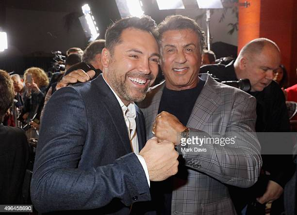 Professional boxer Oscar De La Hoya and actor Sylvester Stallone attend the Centerpiece Gala Premiere of Alcon Entertainment's 'The 33' during AFI...