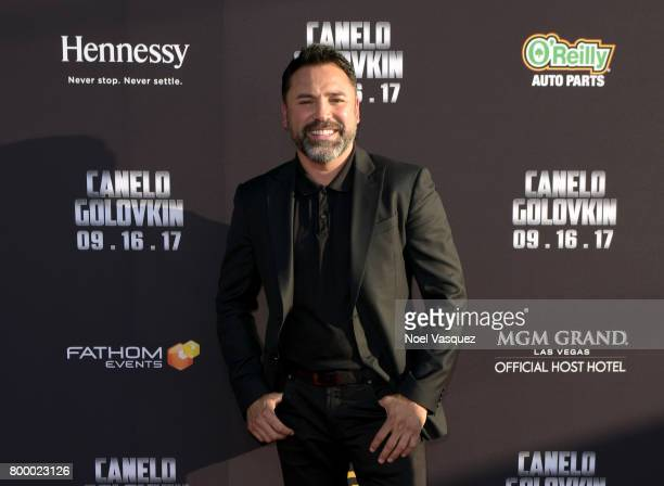"Professional boxer Oscar De La Hoya attends the Canelo Alvarez and Gennady ""GGG"" Golovkin press tour presented by Hennessy at AVALON Hollywood on..."