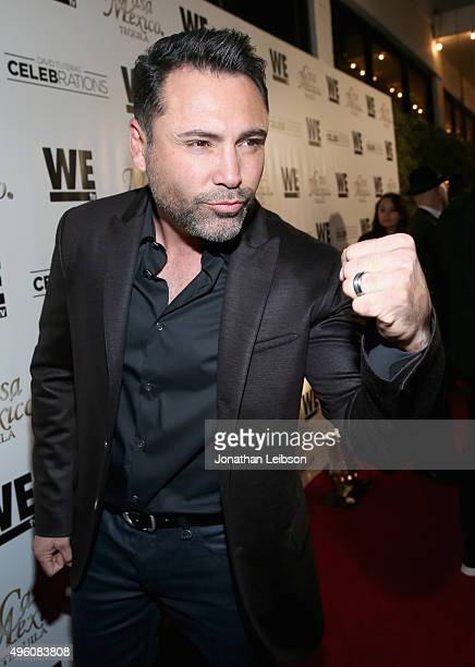 Professional boxer Oscar De La Hoya attends the launch of WE tv's David Tutera CELEBrations and Casa Mexico Tequila on November 6 2015 in Hollywood...