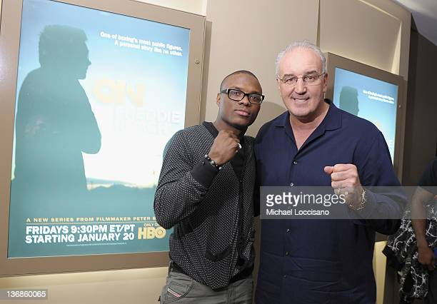 Professional boxer Peter 'Kid Chocolate' Quillin and former professional boxer Gerry Cooney attend a screening of the HBO Original Series of 'On...