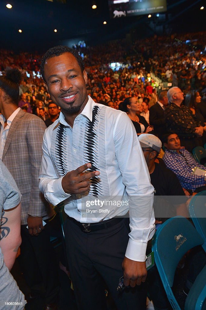 Professional boxer <a gi-track='captionPersonalityLinkClicked' href=/galleries/search?phrase=Shane+Mosley&family=editorial&specificpeople=184553 ng-click='$event.stopPropagation()'>Shane Mosley</a> attends the Floyd Mayweather Jr. vs. Canelo Alvarez boxing match at the MGM Grand Garden Arena on September 14, 2013 in Las Vegas, Nevada.