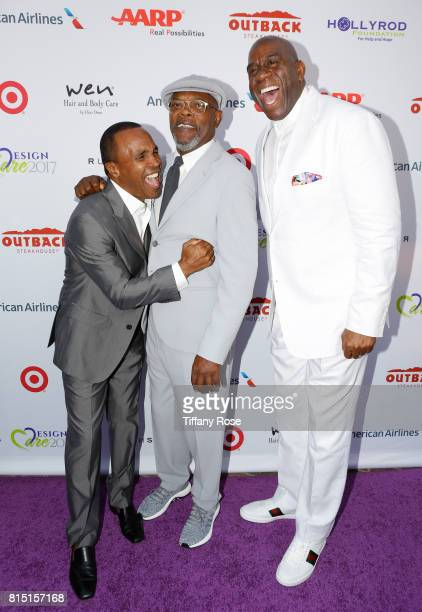 Professional boxer Sugar Ray Leonard actor Samuel L Jackson and professional basketball player Magic Johnson at HollyRod Foundation's DesignCare Gala...