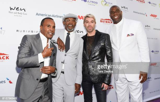 Professional boxer Sugar Ray Leonard actor Samuel L Jackson stylist Chaz Dean and professional basketball player Magic Johnson attend HollyRod...