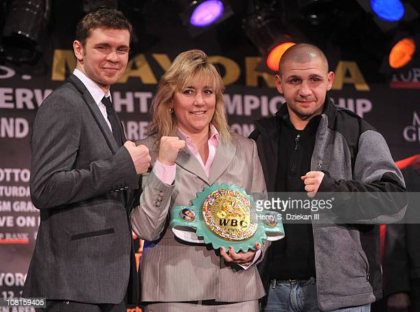 Professional boxer Yuri Foreman WBC Women's Super Welterweight Champion Christy Martin and professional boxer Pawel Wolak attend the Bob Arum and Don...