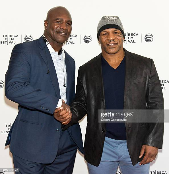 Professional Boxers Evander Holyfield and Mike Tyson attend Tribeca Talks After the Movie 'Champs' during the 2014 Tribeca Film Festival at SVA...
