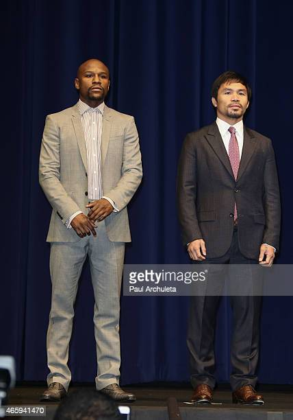 Professional Boxers Floyd Mayweather and Manny Pacquiao attend the press conference to announce upcoming fight with Floyd Mayweather and Manny...