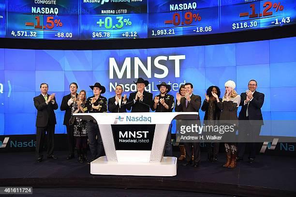 Professional Bull Riders and Monster Beverage Corporation ring the NASDAQ closing bell at NASDAQ MarketSite on January 15 2015 in New York City