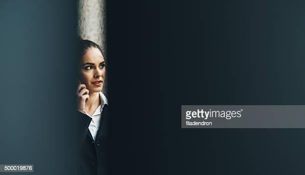 プロフェッショナルなビジネスウーマンの電話