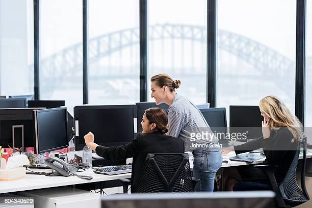 Professional businesswomen in Australian office working on computers