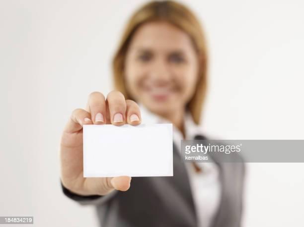 Geschäftsfrau Umgang Business-Karte