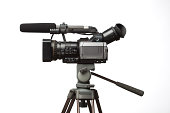 professional camcorder, isolated on white
