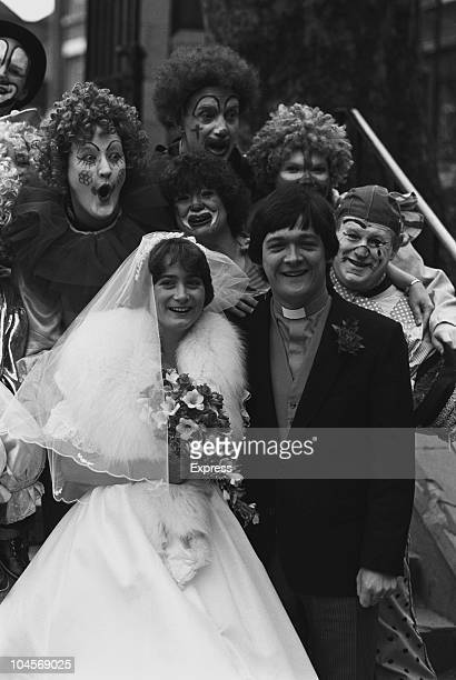 Professional clown and Anglican priest Roly Bain marries Jane Smith on February 25 1984
