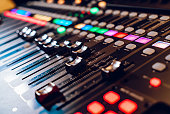 professional concert mixing console is equipped with high-precision and long-stroke faders. Close-up