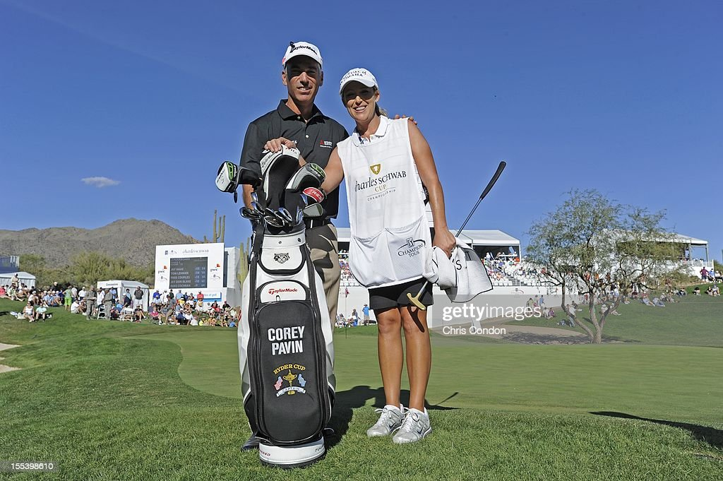 LPGA professional <a gi-track='captionPersonalityLinkClicked' href=/galleries/search?phrase=Cristie+Kerr&family=editorial&specificpeople=213495 ng-click='$event.stopPropagation()'>Cristie Kerr</a> caddied several holes for <a gi-track='captionPersonalityLinkClicked' href=/galleries/search?phrase=Corey+Pavin&family=editorial&specificpeople=179386 ng-click='$event.stopPropagation()'>Corey Pavin</a> during the third round of the Charles Schwab Cup Championship at Desert Mountain Club (Cochise) on November 3, 2012 in Scottsdale, Arizona.