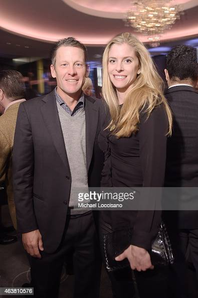 Professional cyclist Lance Armstrong and Anna Hansen attend The New York Times Magazine Relaunch Event on February 18 2015 in New York City