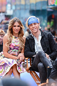 Professional dancer Allison Holker and singer Riker Lynch tape an interview at 'Good Morning America' at ABC Times Square Studios on May 20 2015 in...