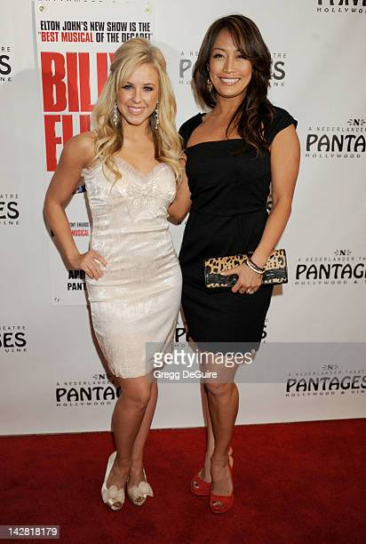 Professional dancer Chelsie Hightower and Carrie Ann Inaba arrive at Los Angeles opening night of 'Billy Elliot' at the Pantages Theatre on April 12...