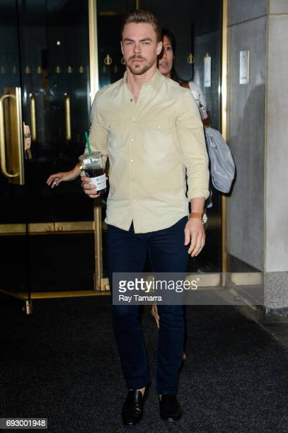 Professional dancer Derek Hough leaves the 'Today Show' taping at the NBC Rockefeller Center Studios on June 06 2017 in New York City