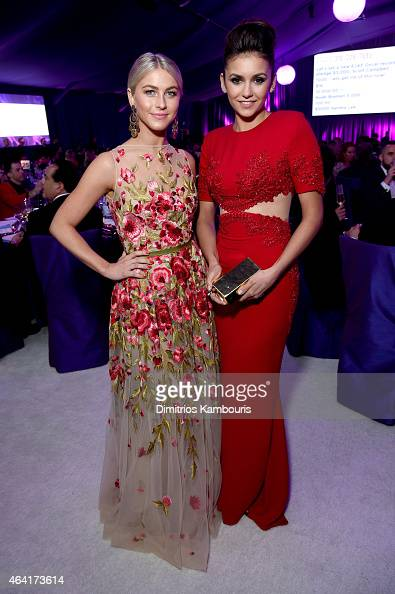 Professional Dancer Julianne Hough and actress Nina Dobrev attend the 23rd Annual Elton John AIDS Foundation Academy Awards Viewing Party on February...