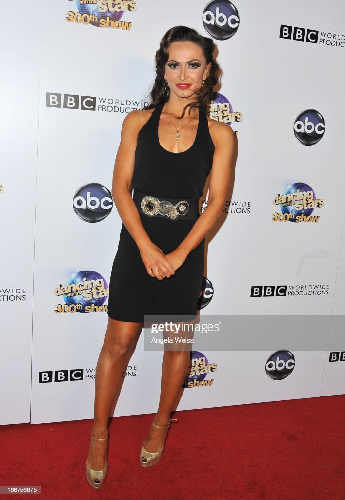 Professional dancer <a gi-track='captionPersonalityLinkClicked' href=/galleries/search?phrase=Karina+Smirnoff&family=editorial&specificpeople=4029232 ng-click='$event.stopPropagation()'>Karina Smirnoff</a> arrives at ABC's 'Dancing With The Stars' 300th Episode Celebration at Boulevard3 on May 14, 2013 in Hollywood, California.