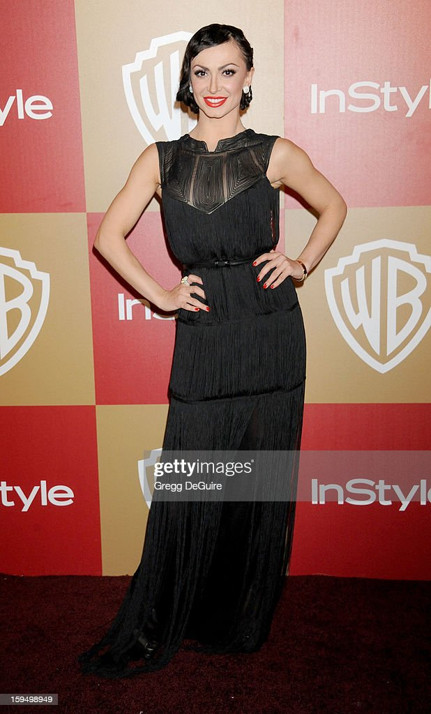 Professional dancer Karina Smirnoff arrives at the InStyle and Warner Bros. Golden Globe party at The Beverly Hilton Hotel on January 13, 2013 in Beverly Hills, California.