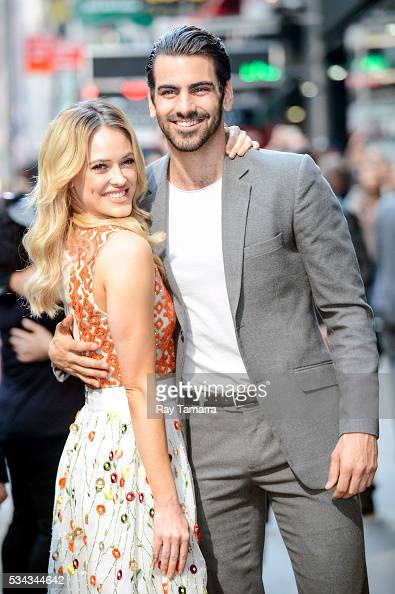 Professional dancer Peta Murgatroyd and model Nyle DiMarco leave the 'Good Morning America' taping at the ABC Times Square Studios on May 25 2017 in...