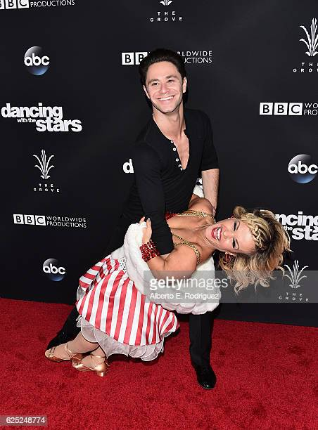 Professional dancer Sasha Farber and TV personallity Terra Jole attends ABC's 'Dancing With The Stars' Season 23 Finale at The Grove on November 22...