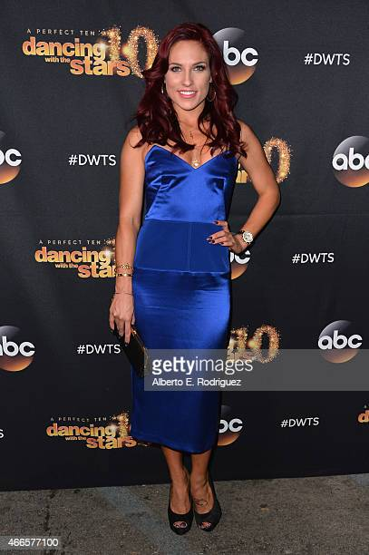 Professional dancer Sharna Burgess attends the premiere of ABC's 'Dancing With The Stars' season 20 at HYDE Sunset Kitchen Cocktails on March 16 2015...