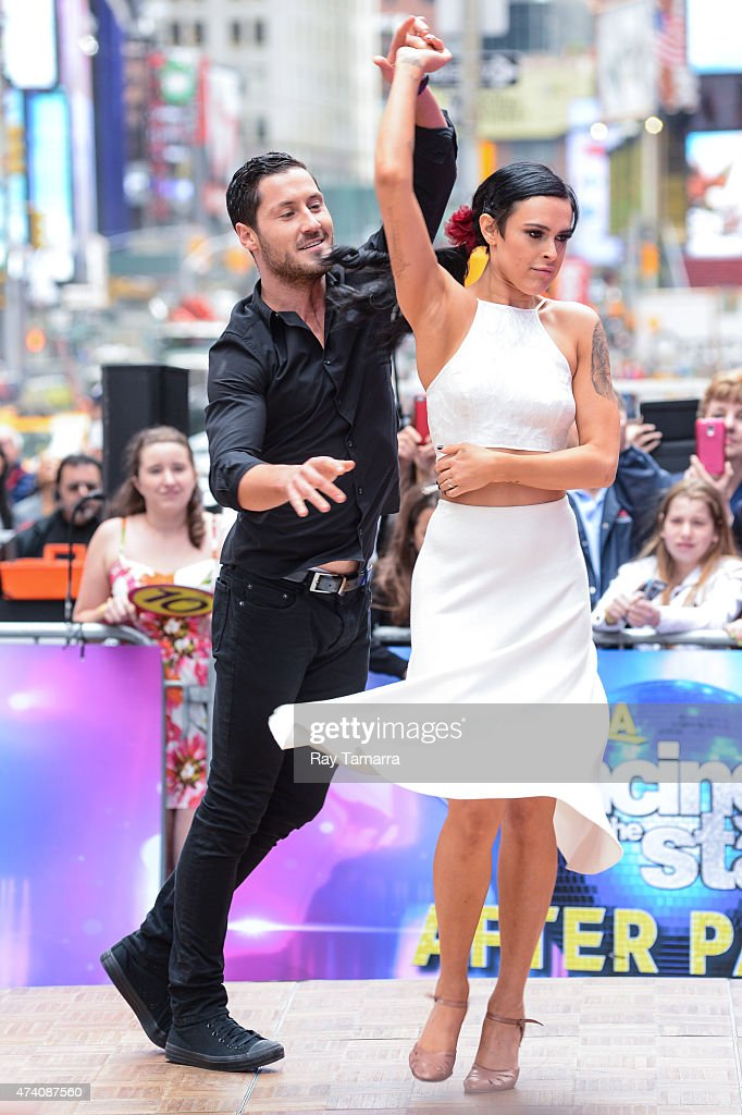 Professional dancer Valentin Chmerkovskiy and actress Rumer Willis perform at 'Good Morning America' at ABC Times Square Studios on May 20 2015 in...