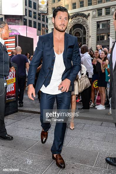 Professional dancer Valentin Chmerkovskiy leaves the 'Good Morning America' taping at the ABC Times Square Studios on September 2 2015 in New York...