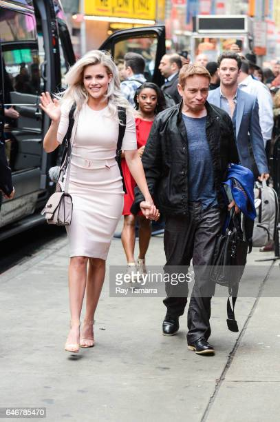 Professional dancer Witney Carson and actor Chris Kattan enter Planet Hollywood restaurant on March 01 2017 in New York City