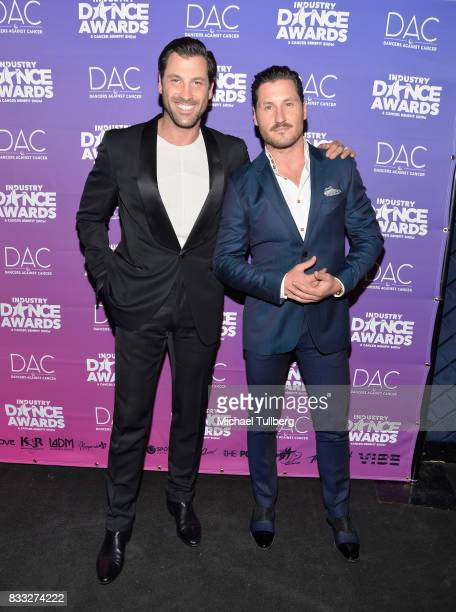 Professional dancers Maksim Chmerkovskiy and Val Chmerkovskiy attend the 2017 Industry Dance Awards and Cancer Benefit Show at Avalon on August 16...