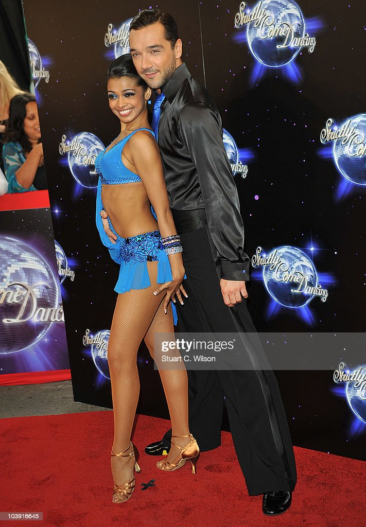 Professional dancers Tanya Perera (L) and Shem Jacobs attend the 'Strictly Come Dancing' Season 8 Launch Show at BBC Television Centre on September 8, 2010 in London, England.