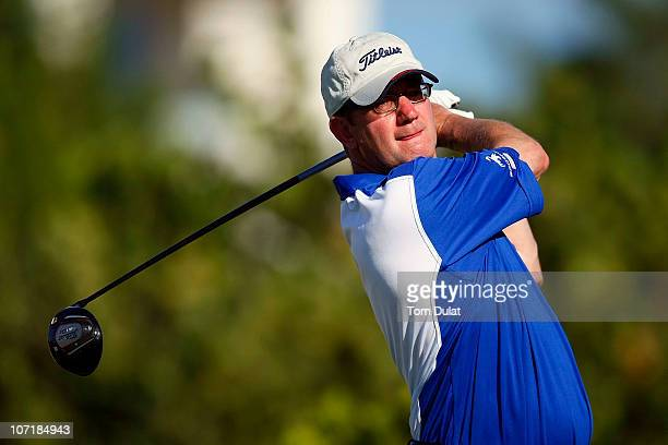 Professional Dave Padgett of Pannal tees off on the 18th hole during the Virgin Atlantic PGA National ProAm Championship Final at Sandals Emerald Bay...