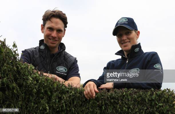 Professional event riders Harry Meade and Zara Tindall walk the course ahead of the Dodson and Horrell Chatsworth International Horse Trials at...