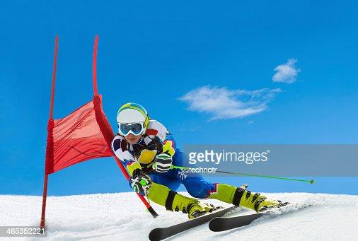 Professional Female Ski Competitor at Giant Slalom Race