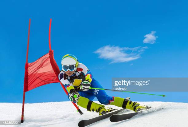 Professional Female Ski Competitor at Giant Slalom Race