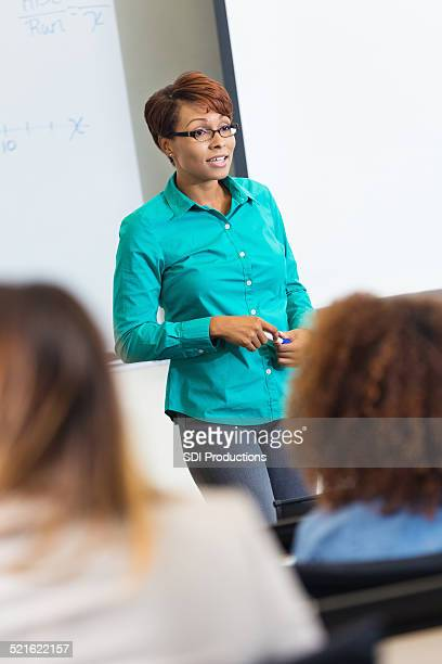 Professional female teacher speaking to clsassroom of students