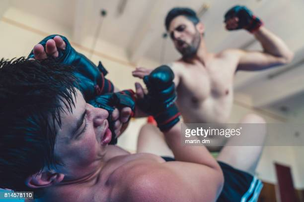 MMA professional fighters boxing in the gym