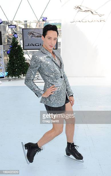 Professional figure skater Johnny Weir was on hand at Jaguar's 'Chill NY' on August 16 2012 to celebrate Jaguar's instinctive All Wheel Drive...