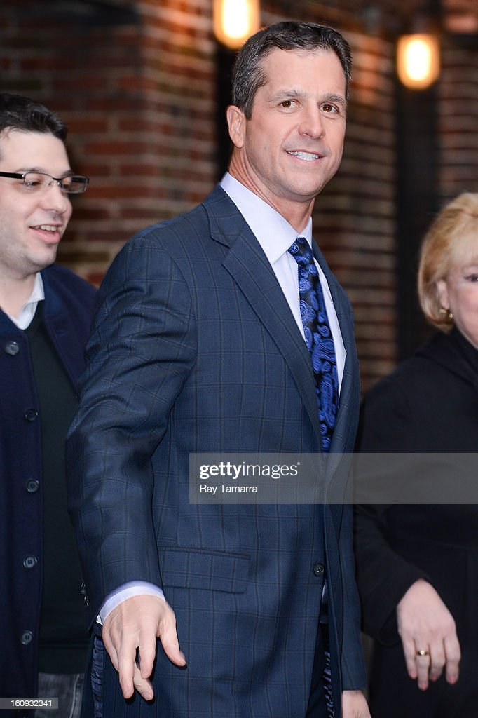 Professional football coach <a gi-track='captionPersonalityLinkClicked' href=/galleries/search?phrase=John+Harbaugh&family=editorial&specificpeople=763525 ng-click='$event.stopPropagation()'>John Harbaugh</a> leaves the 'Late Show With David Letterman' taping at the Ed Sullivan Theater on February 7, 2013 in New York City.