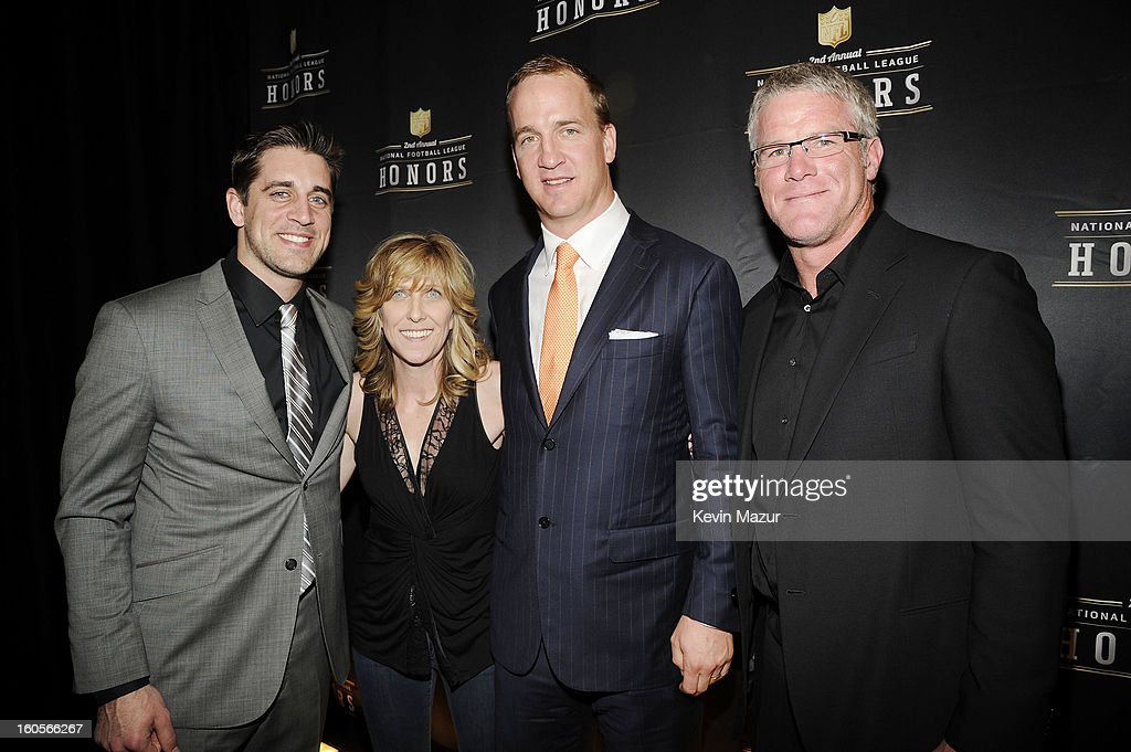 Professional football player Aaron Rodgers, producer Maura Mandt, professional football player Peyton Manning, and former professional football player Brett Favre attend the 2nd Annual NFL Honors at the Mahalia Jackson Theater on February 2, 2013 in New Orleans, Louisiana.