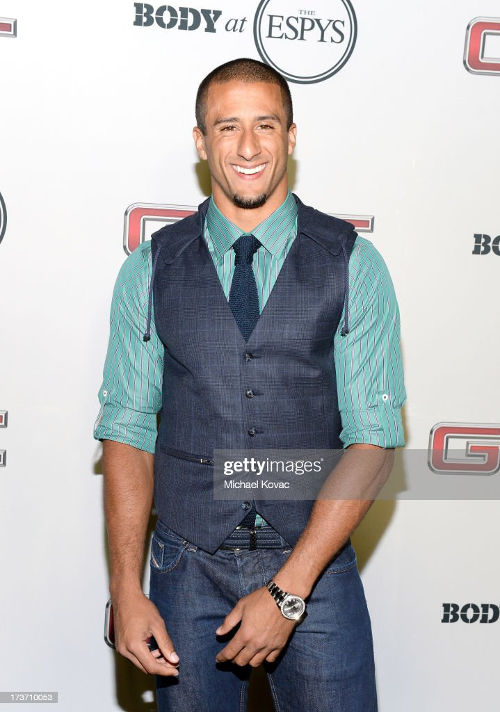 Professional football player <a gi-track='captionPersonalityLinkClicked' href=/galleries/search?phrase=Colin+Kaepernick&family=editorial&specificpeople=5525694 ng-click='$event.stopPropagation()'>Colin Kaepernick</a> attends ESPN The Magazine 5th annual 'Body Issue' party at Lure on July 16, 2013 in Hollywood, California.