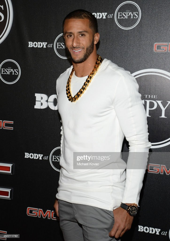 Professional football player <a gi-track='captionPersonalityLinkClicked' href=/galleries/search?phrase=Colin+Kaepernick&family=editorial&specificpeople=5525694 ng-click='$event.stopPropagation()'>Colin Kaepernick</a> attends the Body at ESPYS Pre-Party at Lure on July 15, 2014 in Hollywood, California.