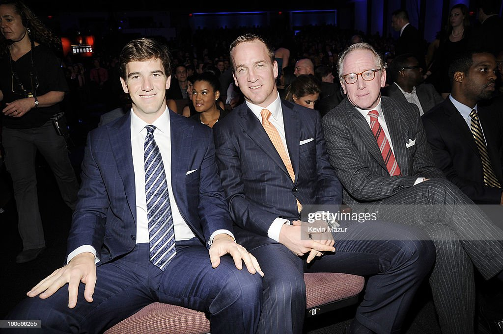 Professional football player Eli Manning, professional football player Peyton Manning, and former professional football player Archie Mannning attend the 2nd Annual NFL Honors at the Mahalia Jackson Theater on February 2, 2013 in New Orleans, Louisiana.