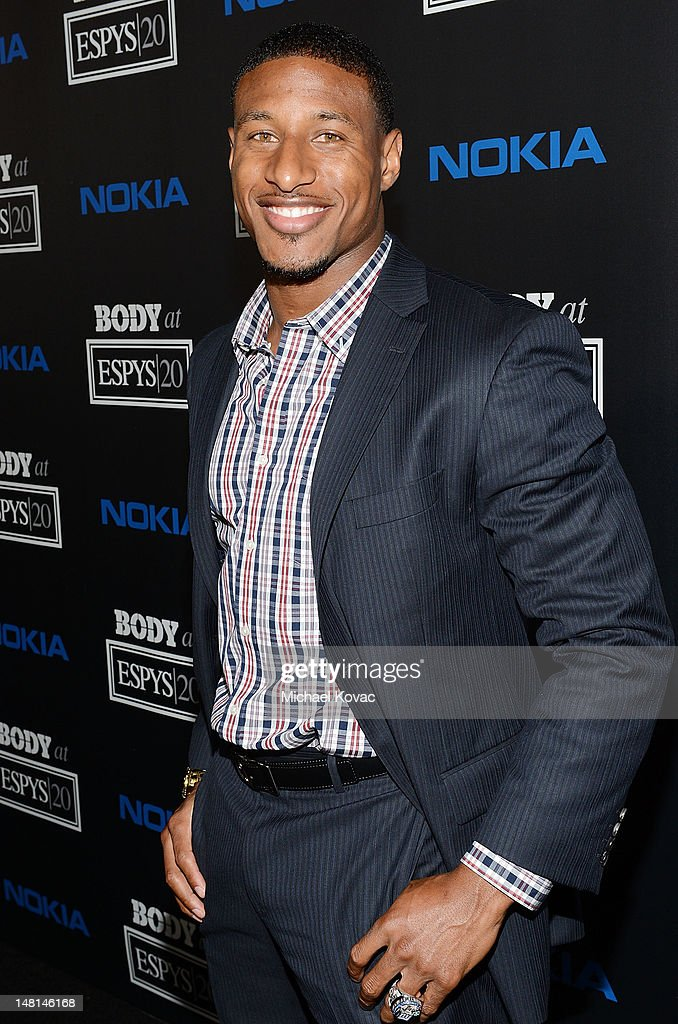 Professional football player Justin Tryon arrives at ESPN The Magazine 4th Annual 'Body Issue' Party at Belasco Theatre on July 10 2012 in Los...